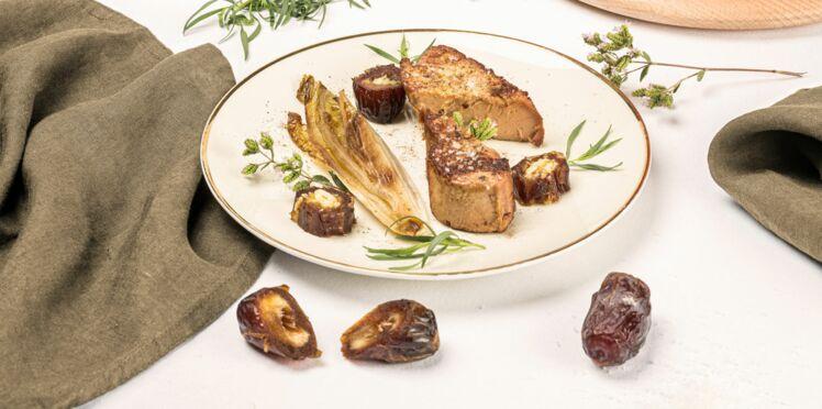 Foie gras chaud, dattes et feuilles d'endives caramélisées d'Alain Passard