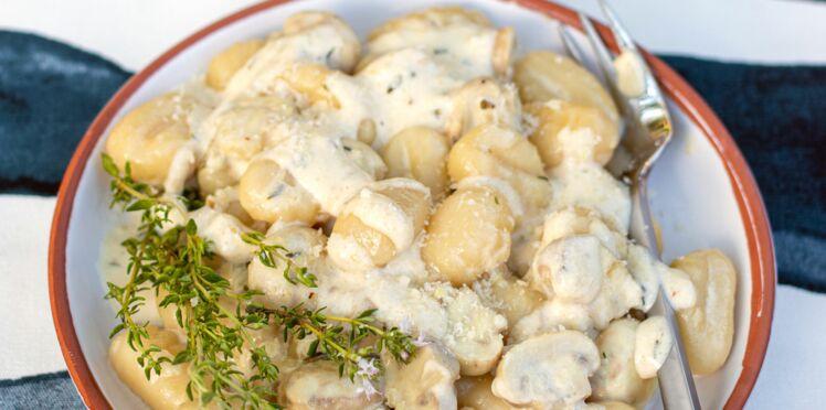 Gnocchis crémeux aux champignons et au thym