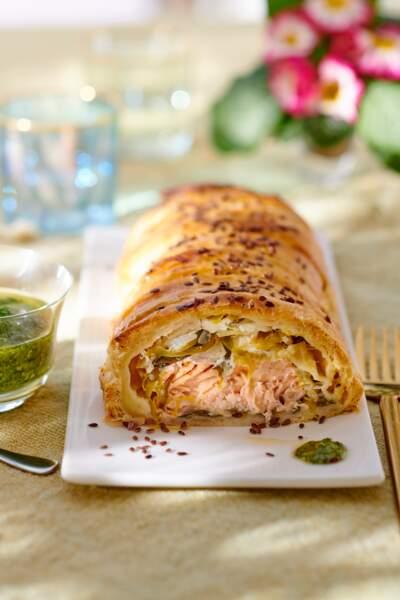 Tresse feuilletée au saumon et au poireau