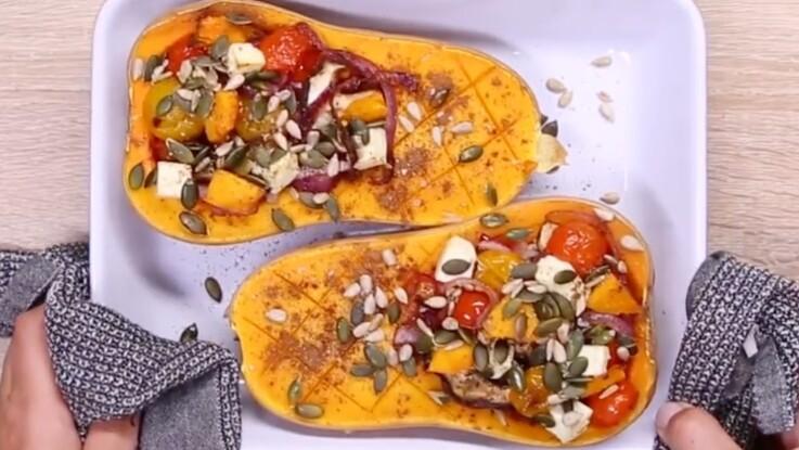 La recette du butternut farci aux légumes et à la féta en vidéo