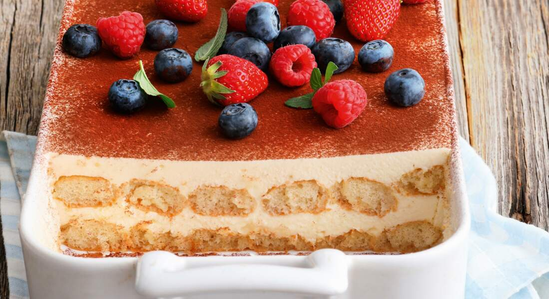 Tiramisu mascarpone et fruits rouges