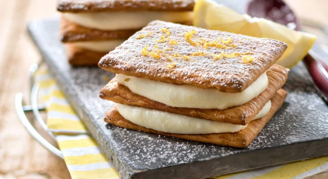 Millefeuille de biscuits et crème citronnée au mascarpone