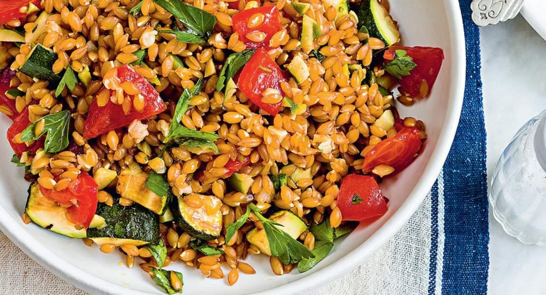 Epeautre, courgette et tomates