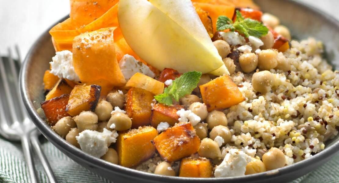 Bowl boulgour, millet, quinoa rouge, courge et pois chiches