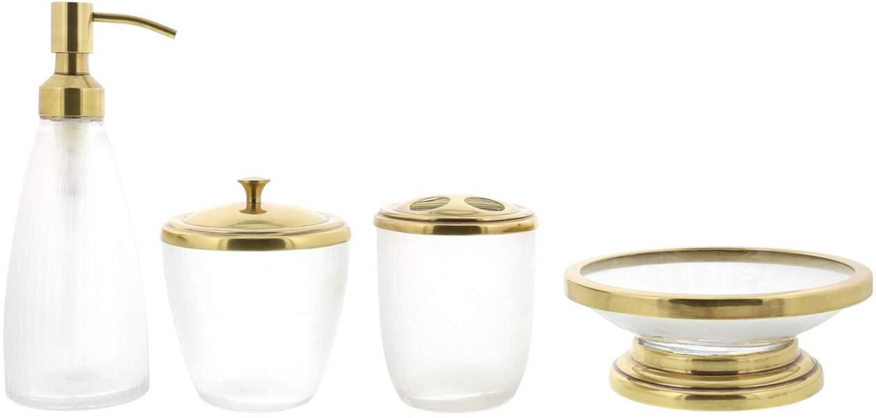 Tendance velours et or :Accessoires de salle de bain