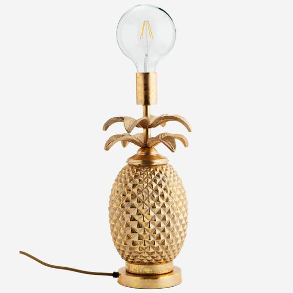 Tendance velours et or : la lampe ananas