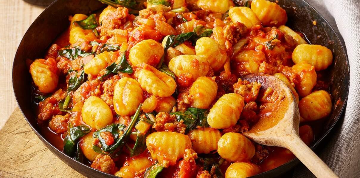 Gnocchis aux tomates et à la saucisse
