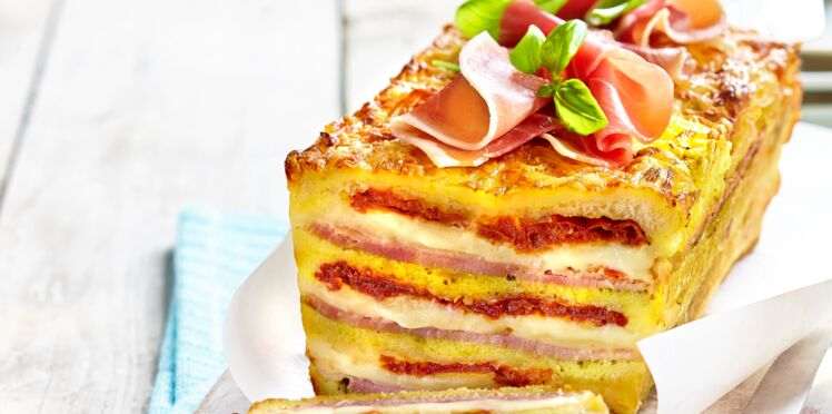 Croque-cake mozza-tomates séchées