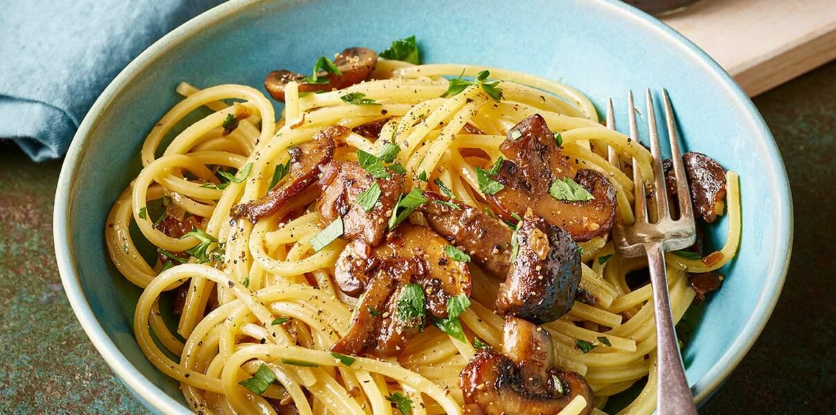 Spaghettis carbonara aux champignons