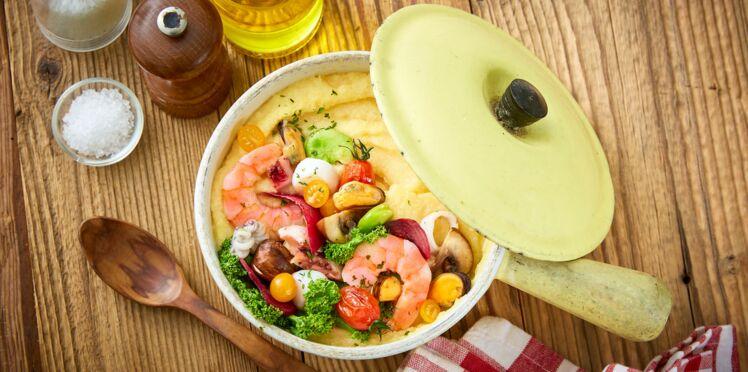 Polenta curry-coco aux fruits de mer et petits légumes