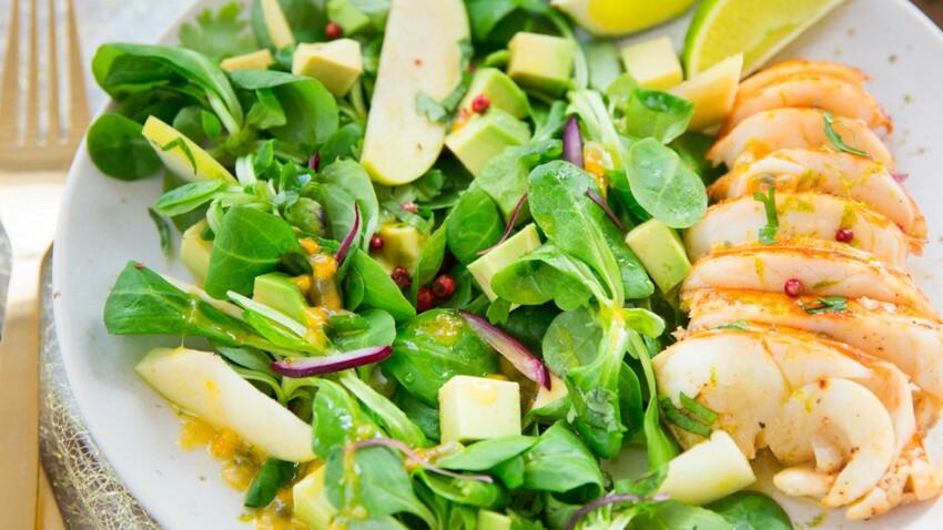 Langouste grillée et salade de mâche