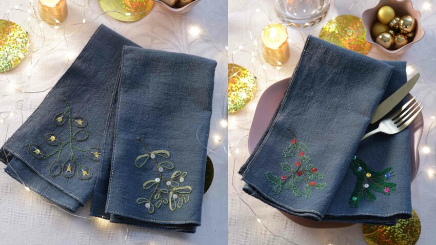 Broderie gratuite : les serviettes de fête