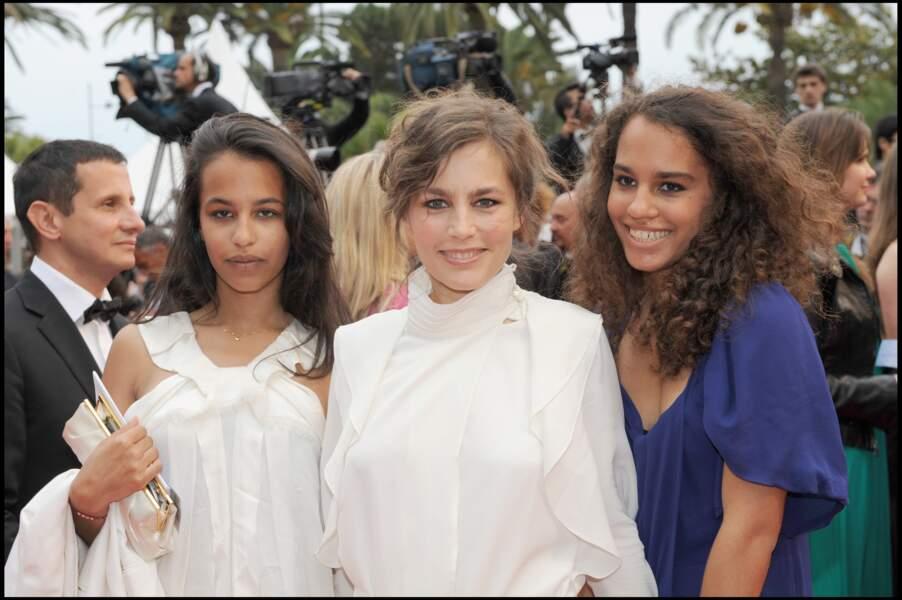 Sophie Duez et ses deux filles au Festival de Cannes 2008
