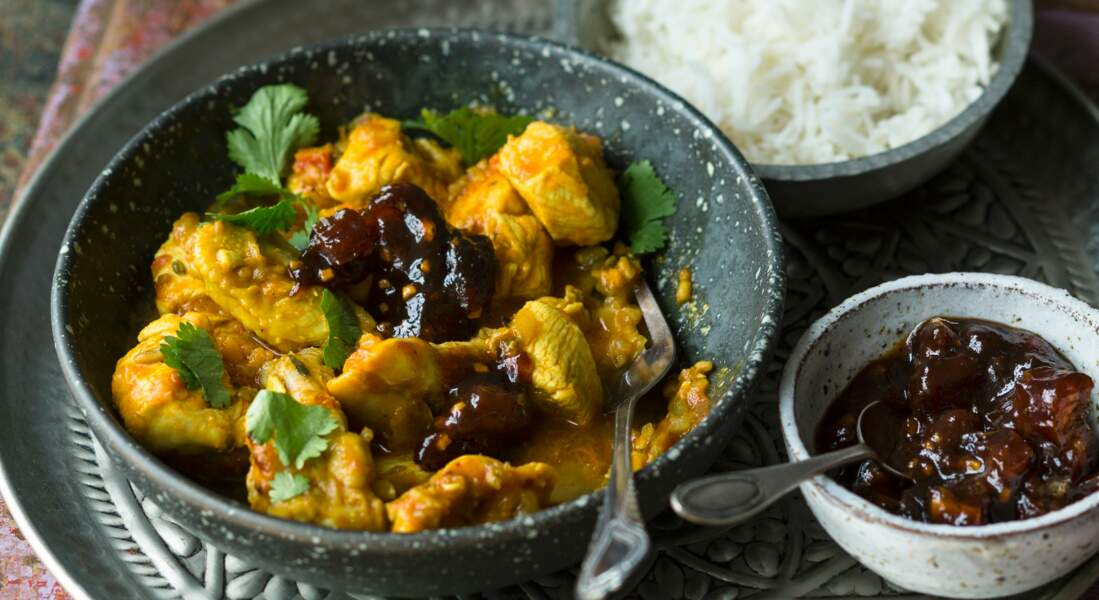 Poulet au curry et chutney de dattes au tamarin