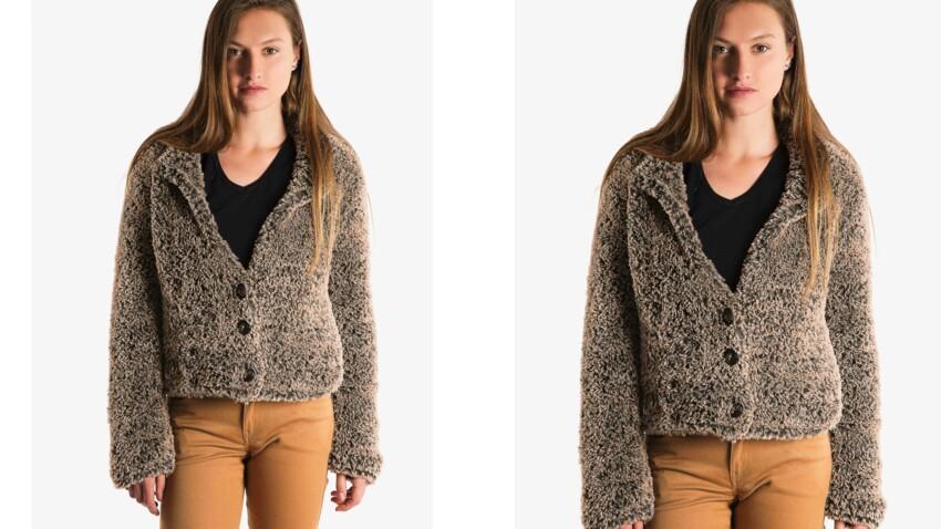 Tricot gratuit : la veste courte façon fourrure