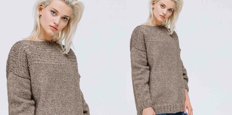 Tricot gratuit : le pull avec empiècement au point fantaisie