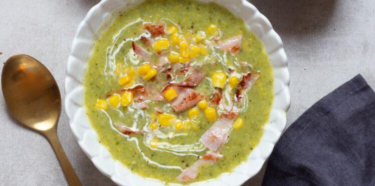Soupe de maïs et bacon grillé