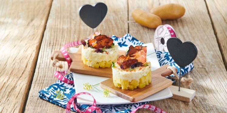 Cheesecake de Pompadour Label Rouge au paprika et chips de bacon