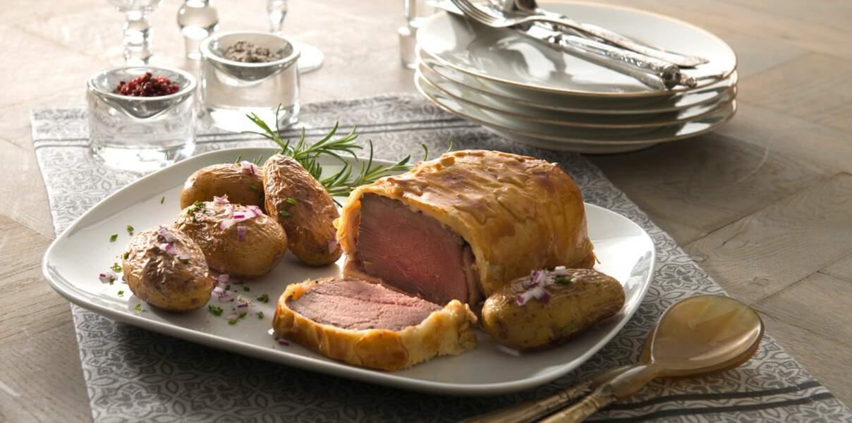 Bœuf en croûte et pommes de terre Pompadour rissolées