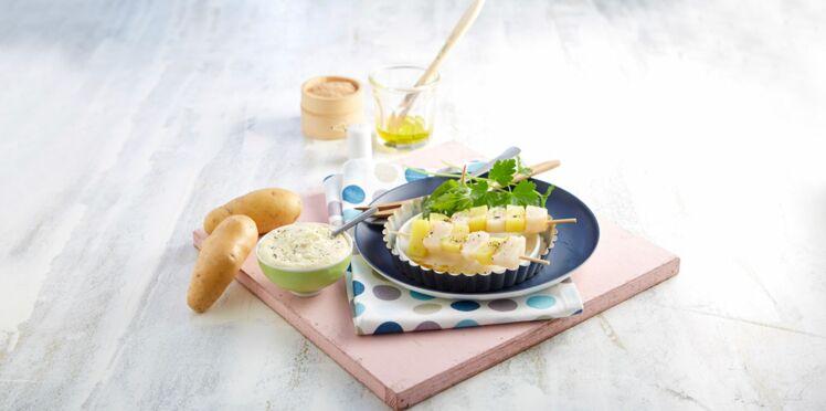 Brochettes de Saint-Jacques et mousseline de Pompadour Label Rouge aux algues