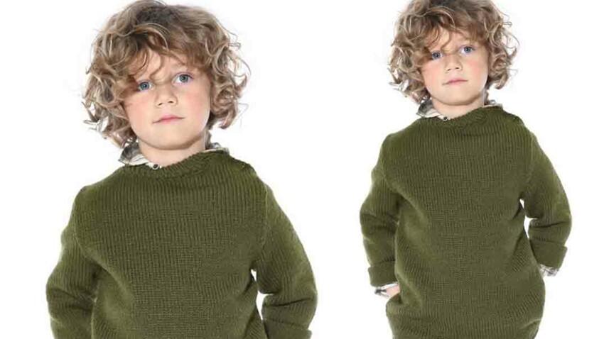 Tricot gratuit : le pull enfant boutonné sur l'épaule