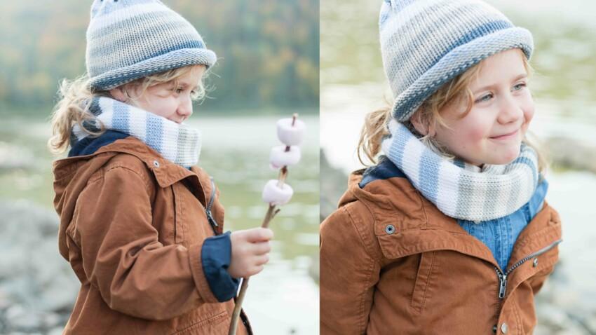 Tricot gratuit : le bonnet et son snood rayés