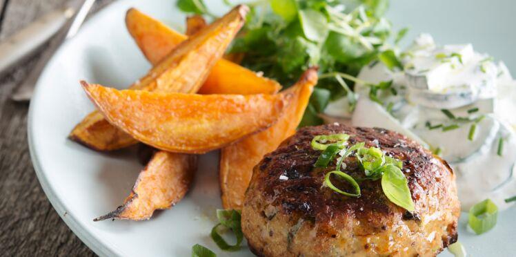 Steaks de dinde et patate douce rôtie