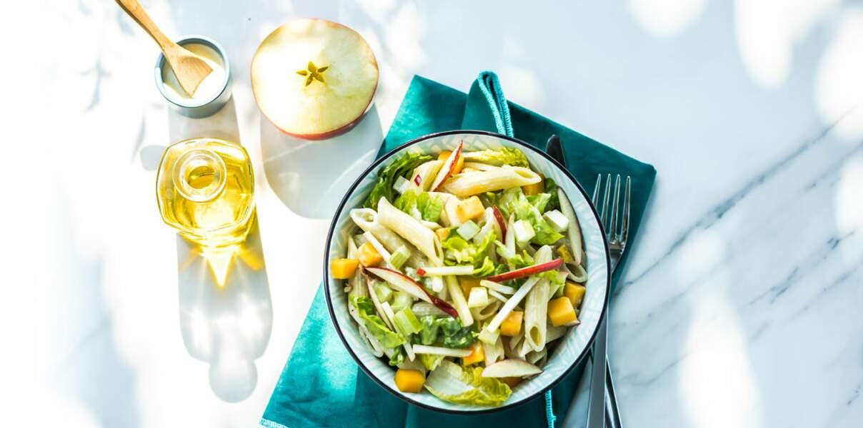 Salade de pâtes, pomme, céleri façon césar à l'huile d'olive de Provence AOP