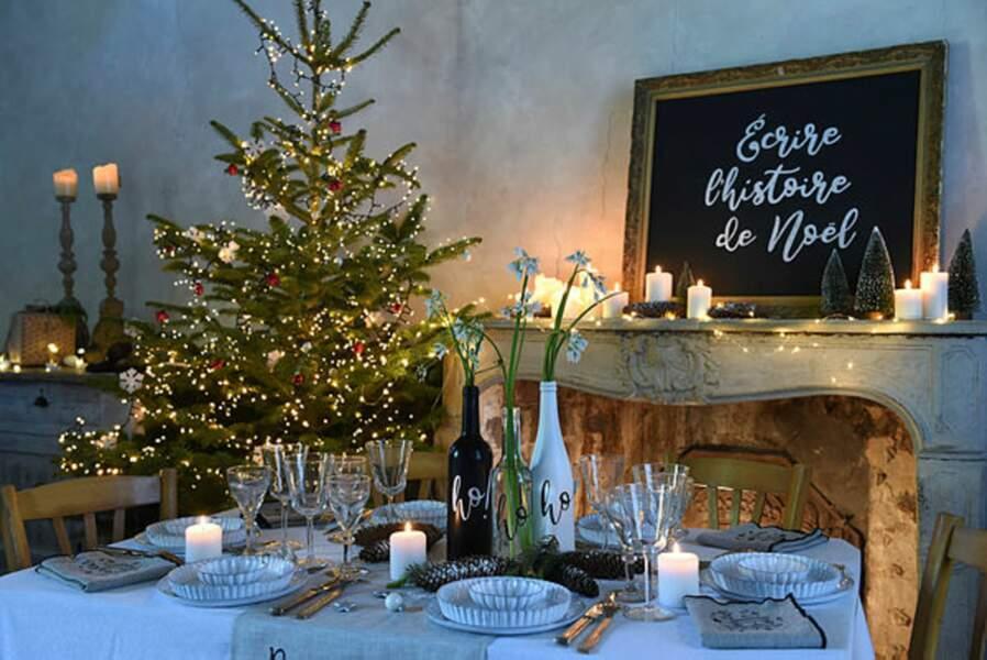 DIY Noël : déco de table en écritures