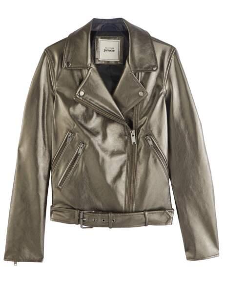 Tendance métallisée : la veste dorée façon perfecto