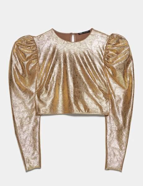 Tendance métallisée : la blouse dorée