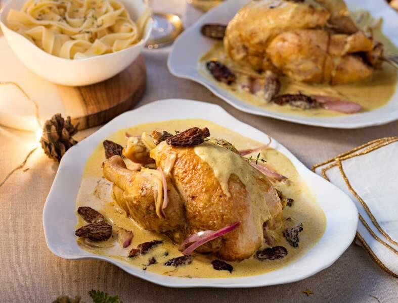 Coquelets au vin jaune, crème et morilles