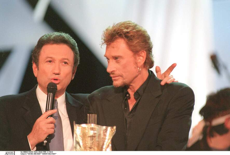 Michel Drucker et Johnny Hallyday en 1998