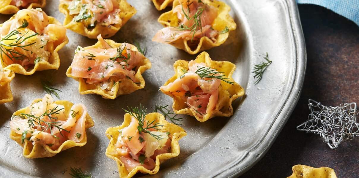 Tortilla Bowls au saumon et aux agrumes