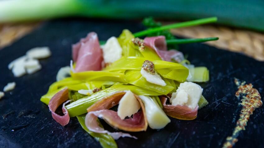 Poireaux de Normandie vinaigrette à la moutarde à l'ancienne
