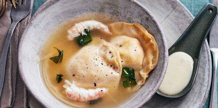 Ravioles de langoustines et foie gras, sauce au citron confit