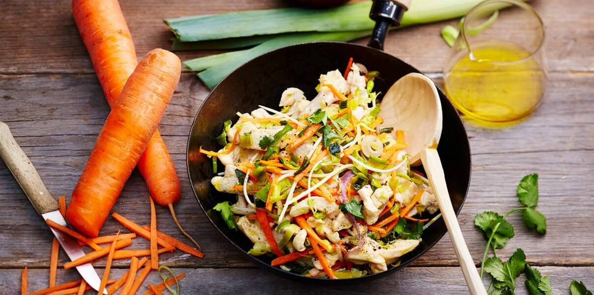 Wok de poulet sauté au soja et ses carottes et poireaux de Normandie