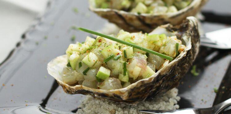 Tartare de bar et d'huîtres