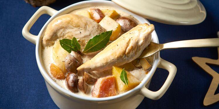 Aiguillettes de poulet, façon blanquette aux légumes anciens