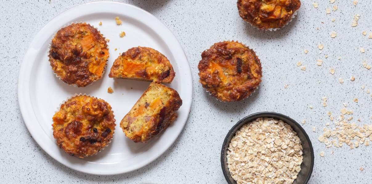 Muffins à la patate douce à la farine de blé tendre et aux flocons d'avoine
