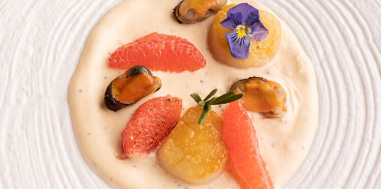 Fruits de mer en sauce de pamplemousse de Floride