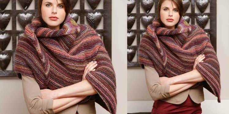 Tricot gratuit : le châle tricoté en rond
