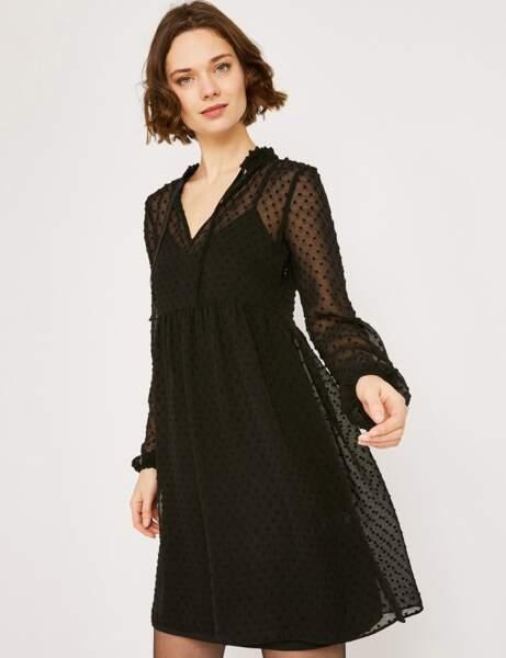 Siyah elbise: plumetis