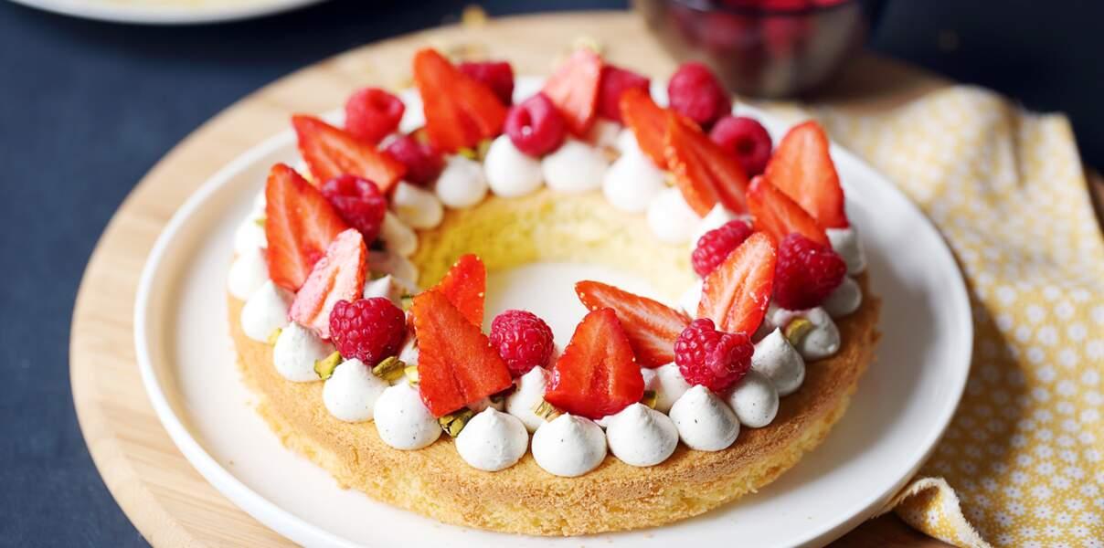 Gâteau-tarte crème vanille et fruits rouges