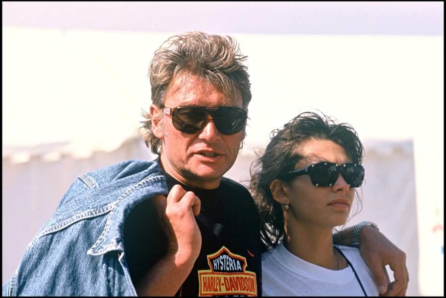 Johnny Hallyday et Adeline Blondieau en 1990