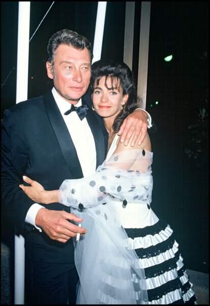 Adeline Blondieau et Johnny Hallyday au festival de Cannes en 1990