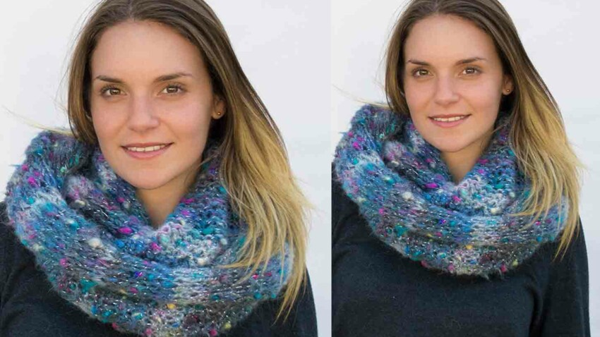 Tricot gratuit : le snood brillant au point jersey