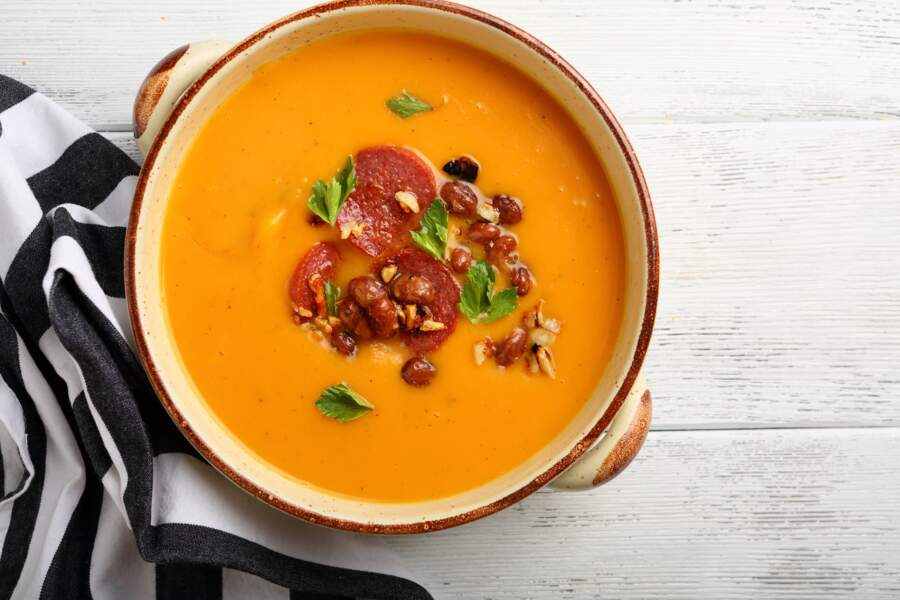 Soupe butternut haricots rouges