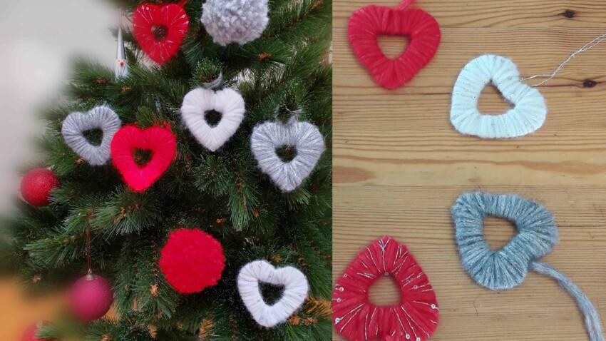 DIY : déco de pompons et cœurs en laine pour le sapin de Noël