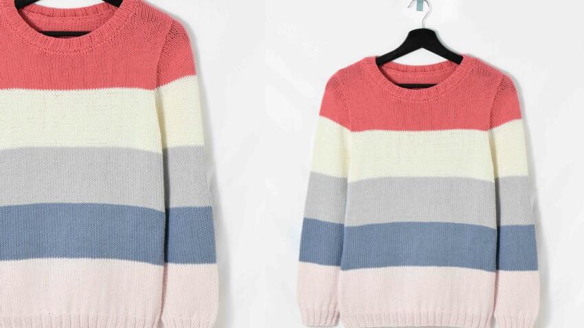 Tricot gratuit : le pull en jersey à 5 rayures